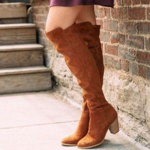 Over The Knee Boots Suede Block Heel Round Toe